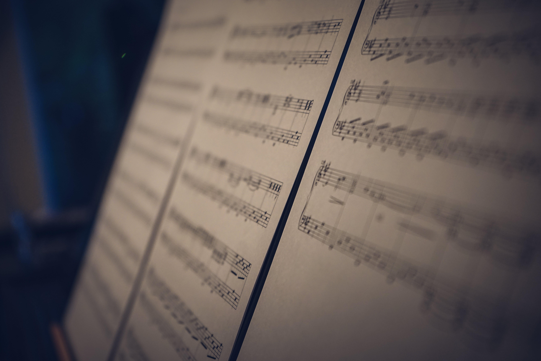 Základová fotografie zdarma na téma hudba, hudební noty, kompozice, ostření