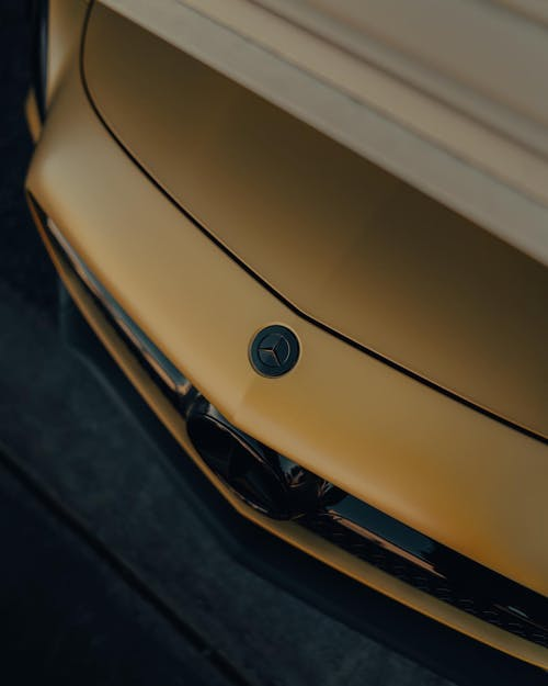 Fancy car hood parked in garage