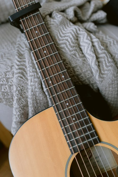 Close-Up Shot of an Acoustic Guitar