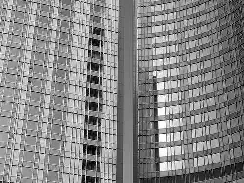 White and Black Glass Building
