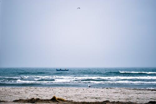 Wavy sea washing sandy coast in daytime