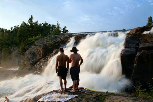 Foto profissional grátis de árvores, cachoeira, homens, natureza