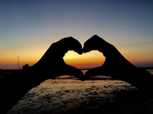 心, 愛, 日落, 海灘 的 免費圖庫相片