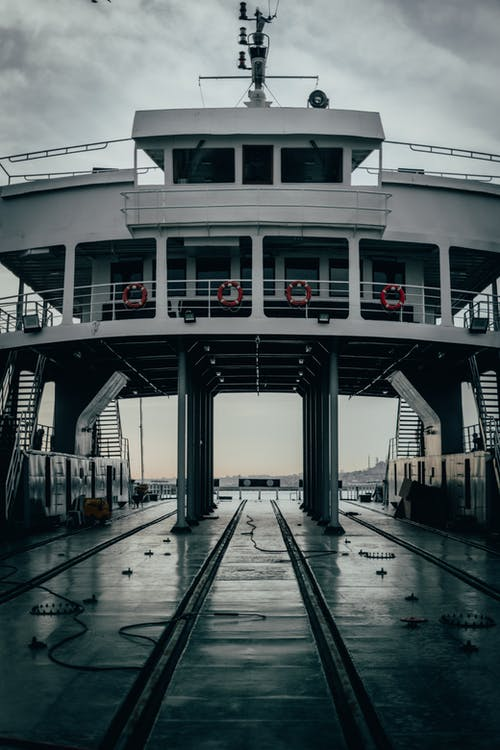 Modern ferry ship in port