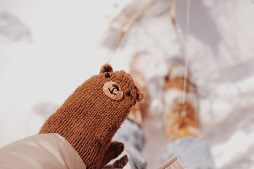 Person Holding Brown Knit Bear Plush Toy
