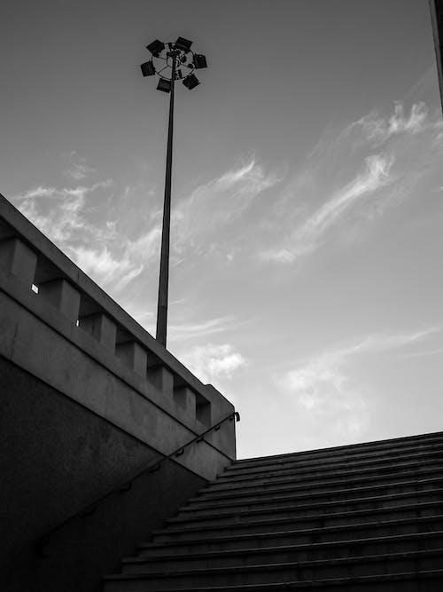 Kostenloses Stock Foto zu aufnahme von unten, froschperspektive, geländer