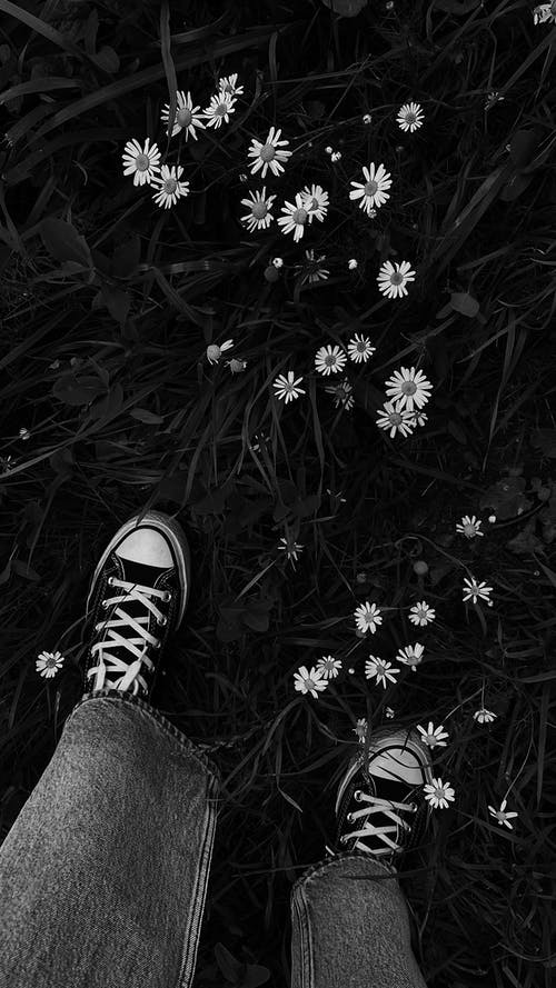 Grayscale Photo of Person Wearing Black and White Sneakers