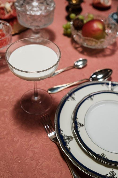 White Liquid On Clear Glass