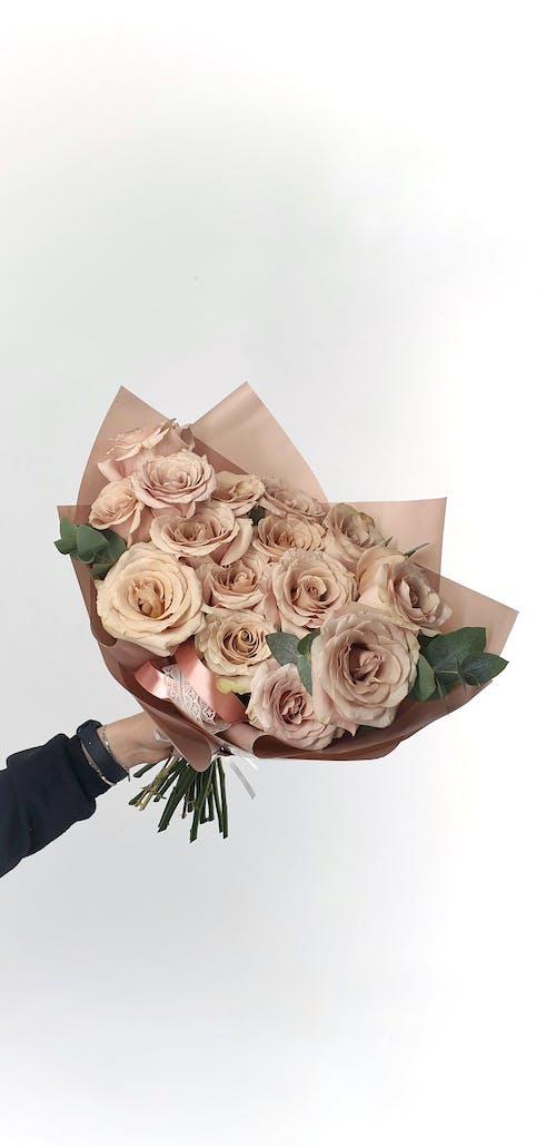 Crop female florist holding bouquet of roses in light studio