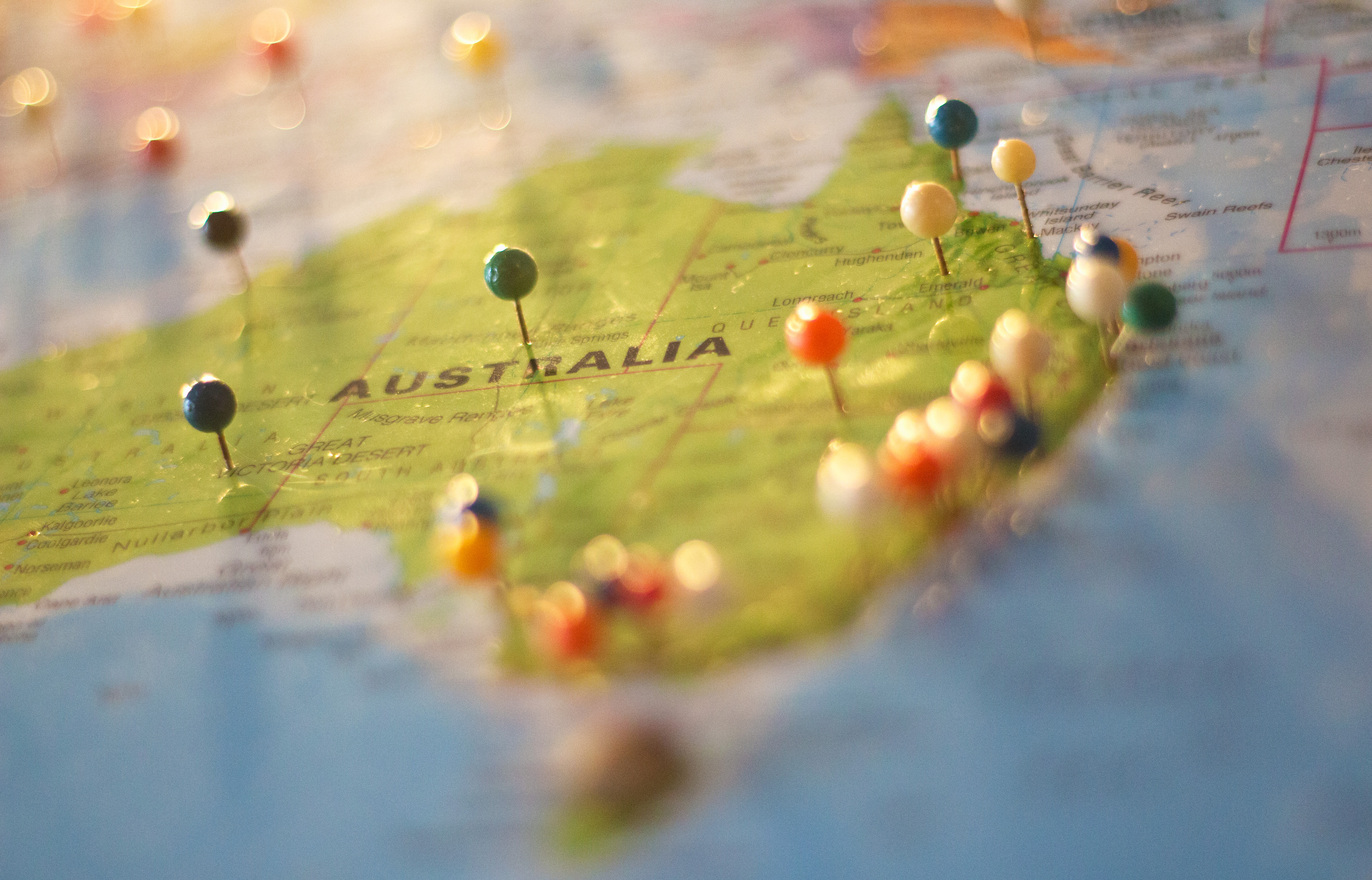 Map of Australia with pins.