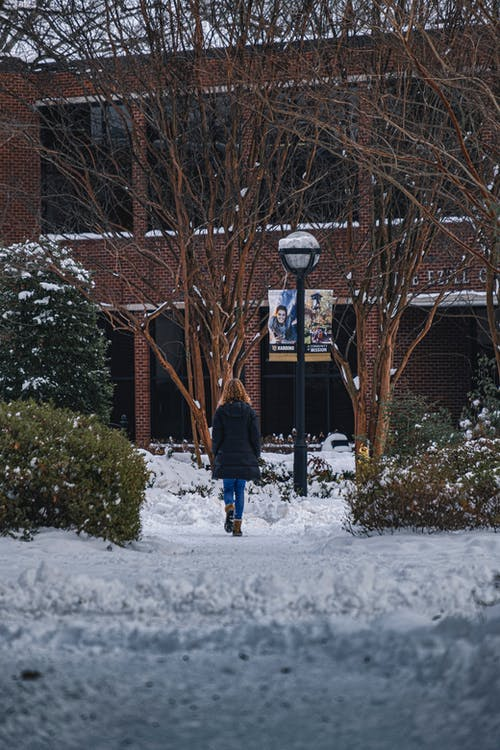 A Person Walking in a Pathway Covered in Snow