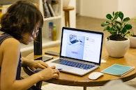 woman, desk, macbook pro