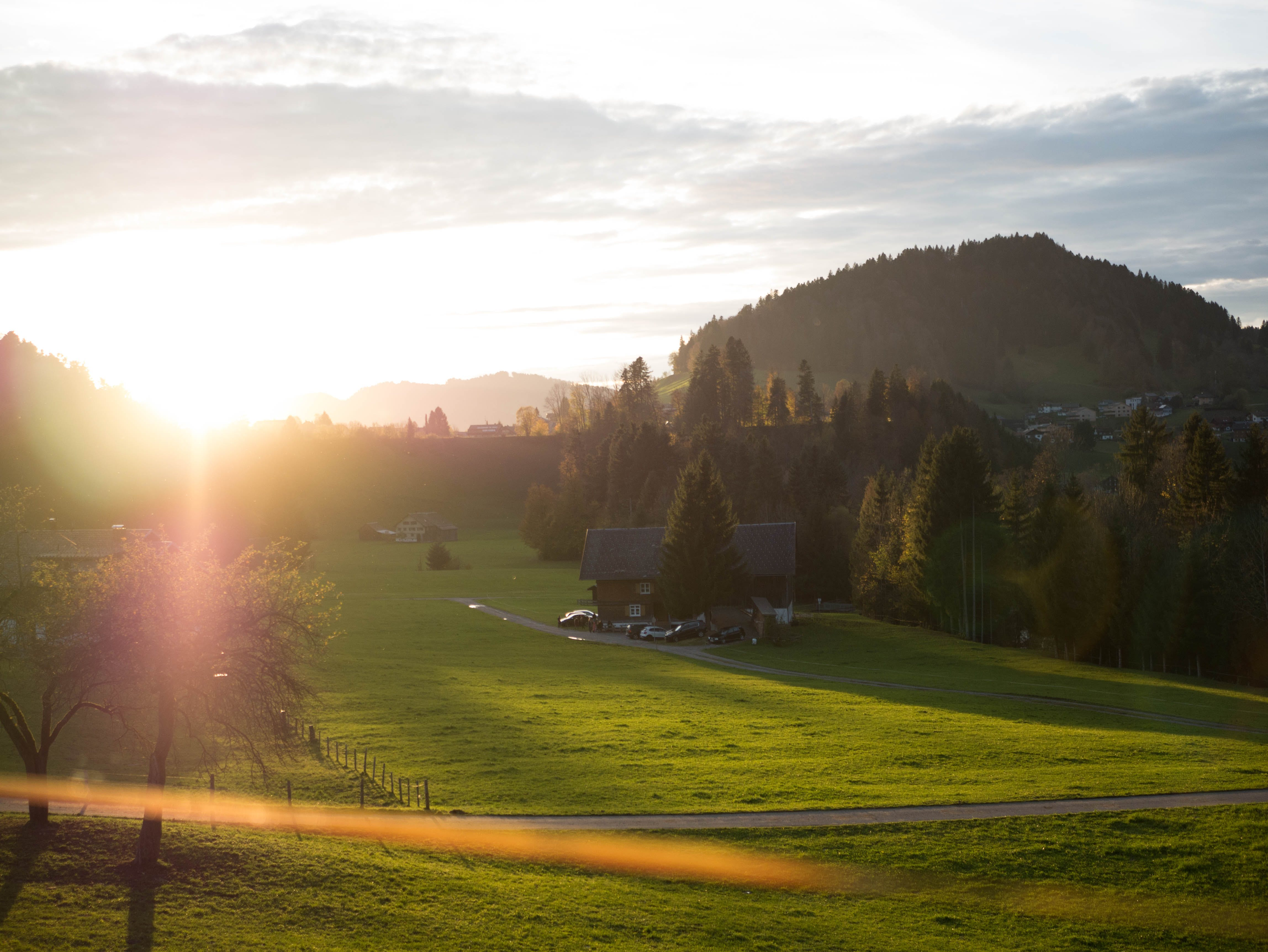 Free stock photo of cars, sunset, mountain, grass