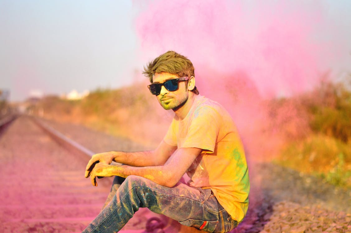 Man in T-Shirt and Jeans and Sunglasses Color Power