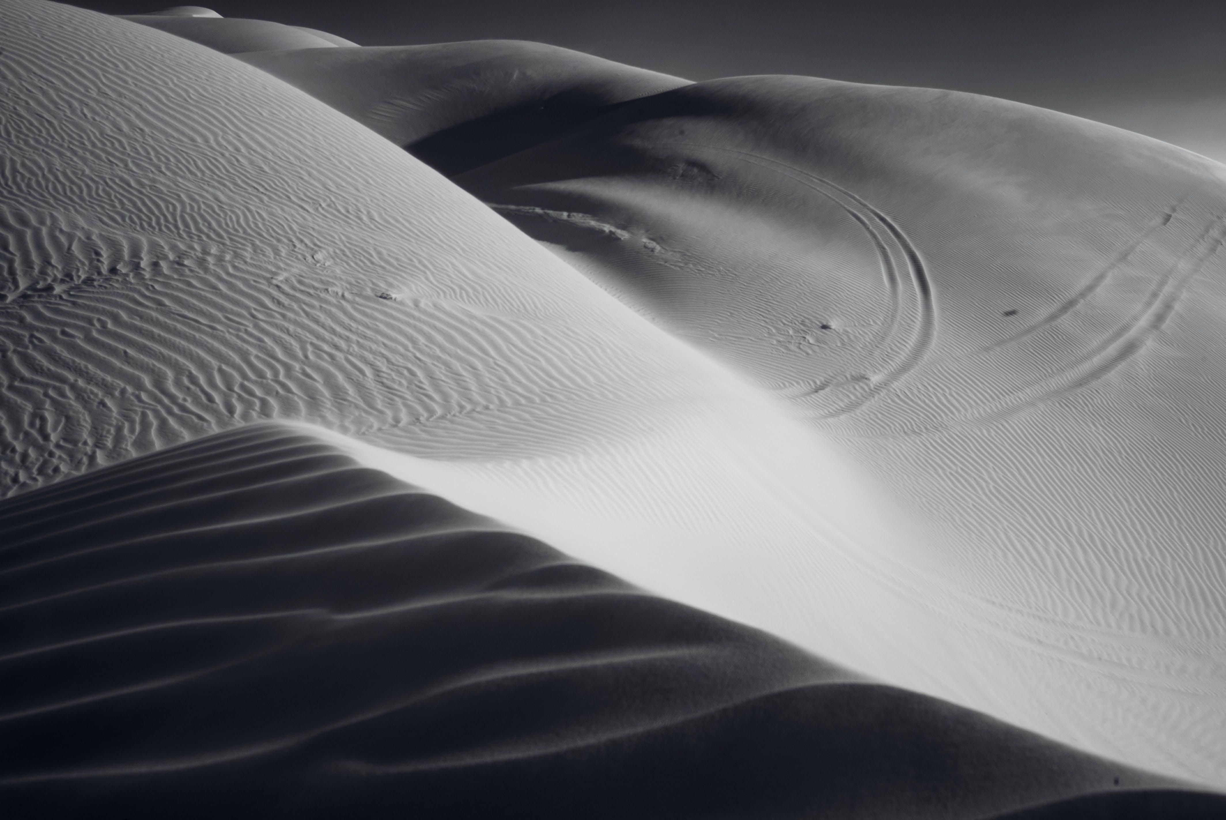 Free stock photo of black-and-white, sand, desert, dunes