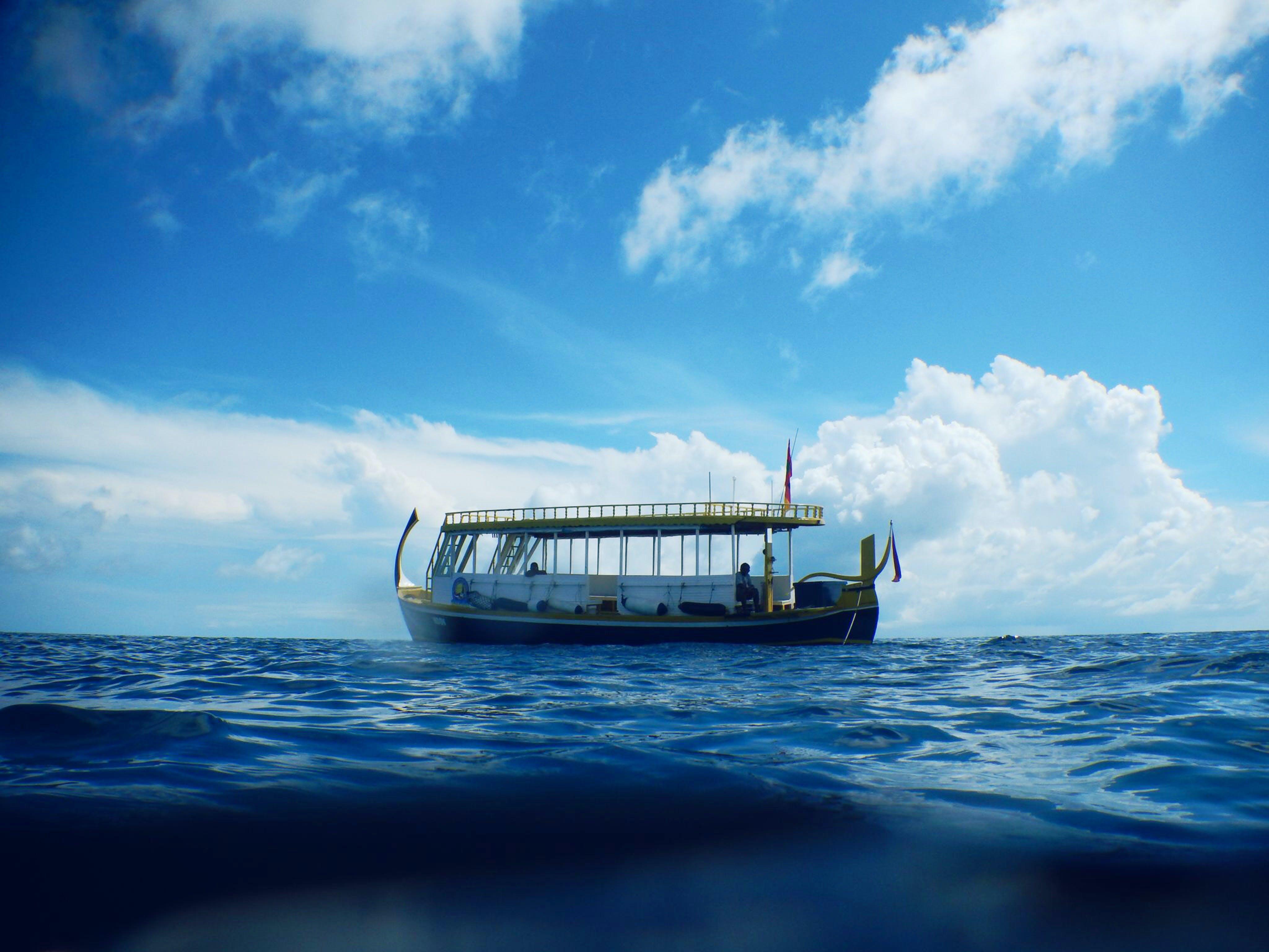 blue, boat, sea