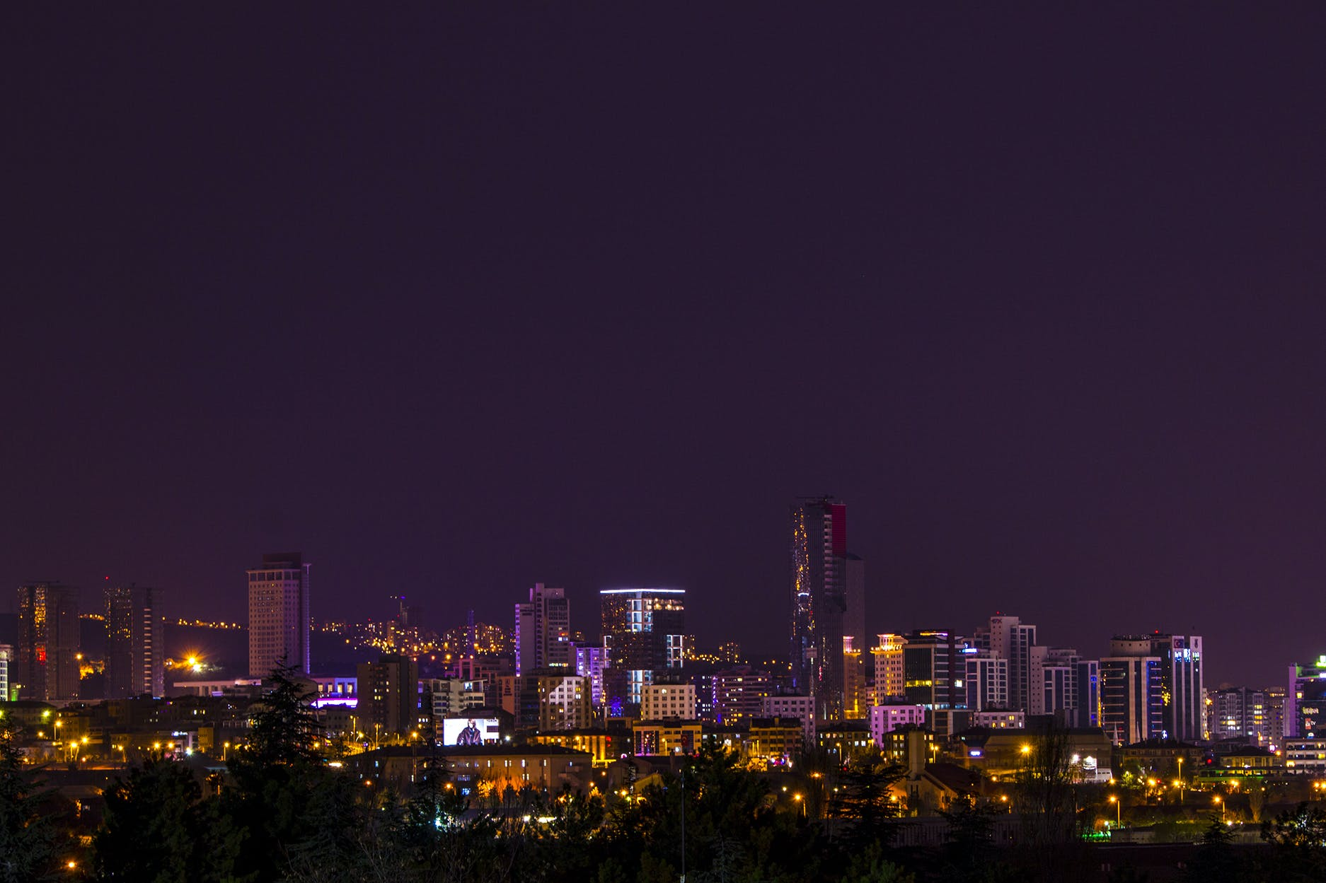 Skyline View during Night Time