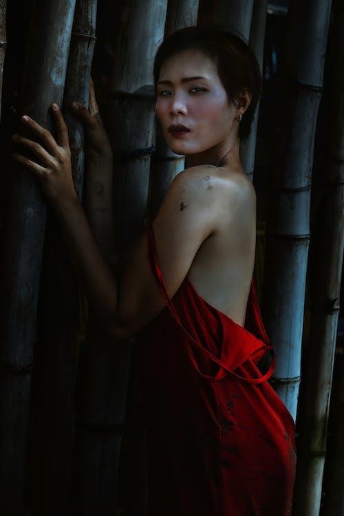 Ethnic lady in dress near bamboo