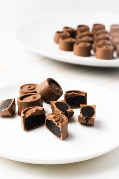 Chocolate Bars on White Ceramic Plate