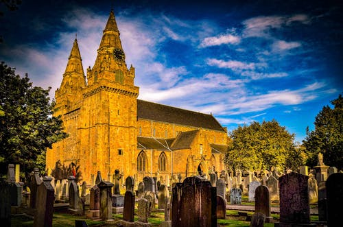 Free stock photo of aberdeen scotland, buildings sky blue clouds, cathedral