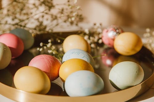 Colored DIY Eggs On A Tray
