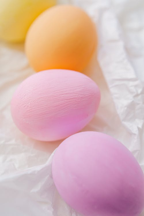 Colored Eggs In White Surface
