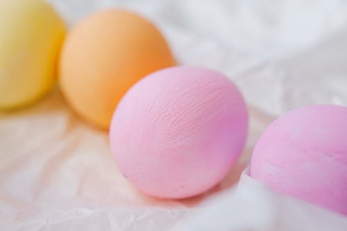 Pastel Colored Eggs In Close-up View