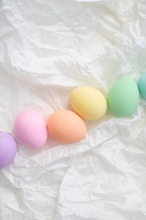 Row Of Assorted Colored Eggs