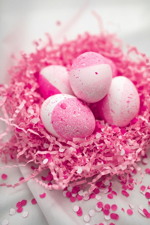 Pink Painted Eggs On Pink Nest