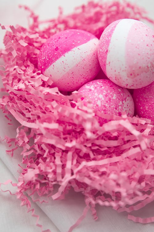 Pink Colored Eggs On Nest