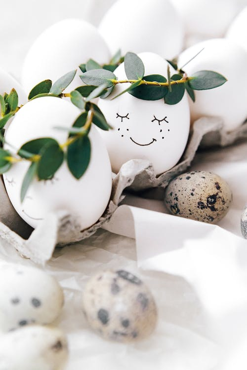 Cute Painted Eggs With Leaves