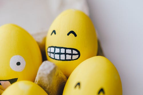 Yellow Painted Egg With Smiley Emoticonn