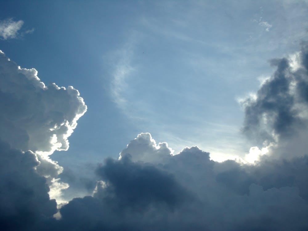 небо, облака, солнечный свет