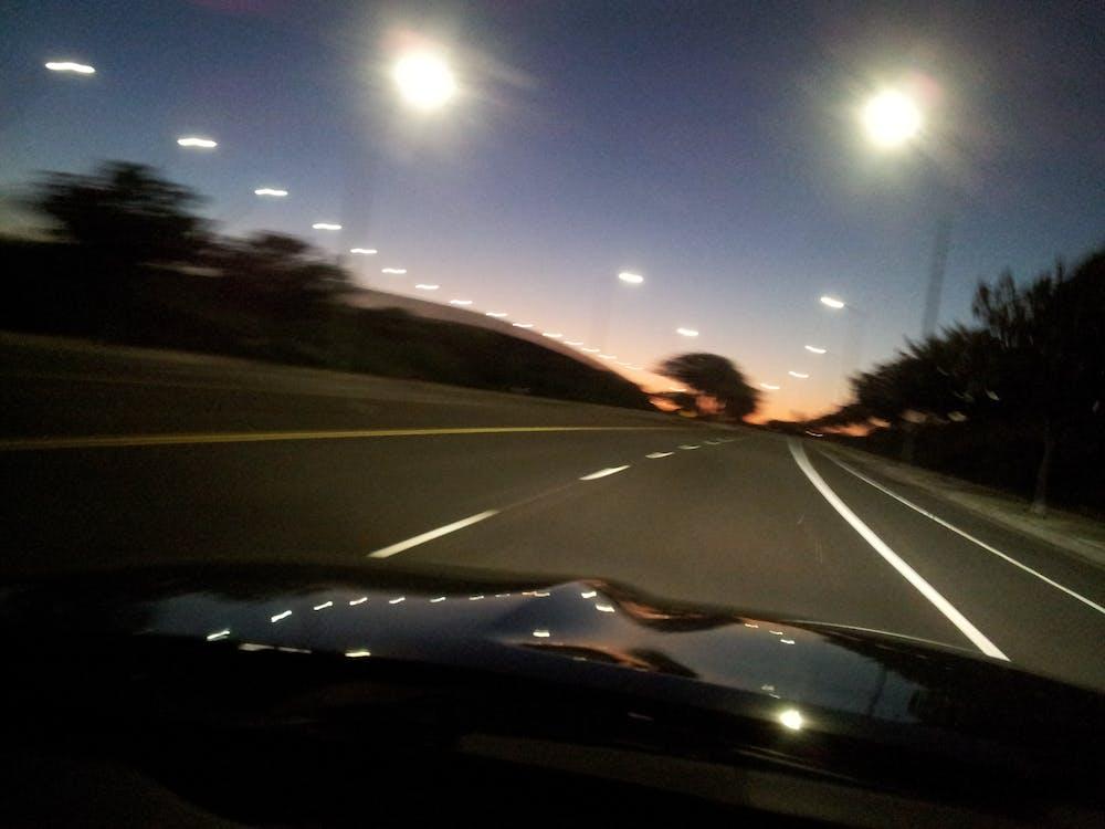 вождение, высокая скорость, закат