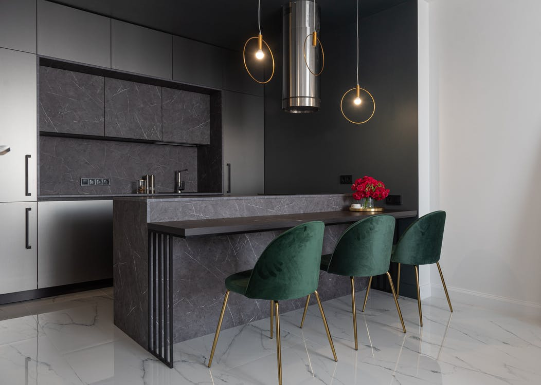 Stylish kitchen with modern furniture and appliances