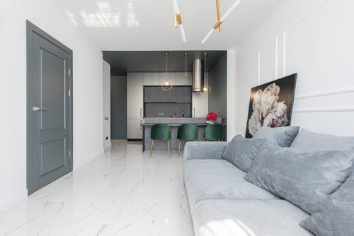 Interior of modern apartment with kitchen and living room