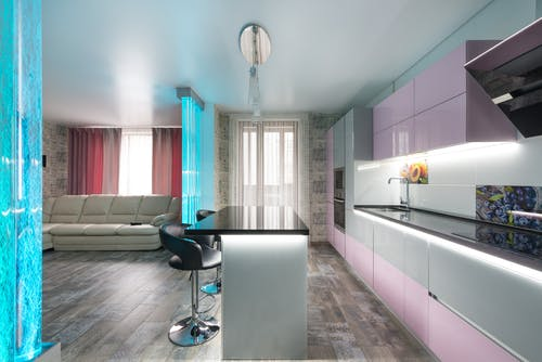Spacious studio apartment with bubble wall