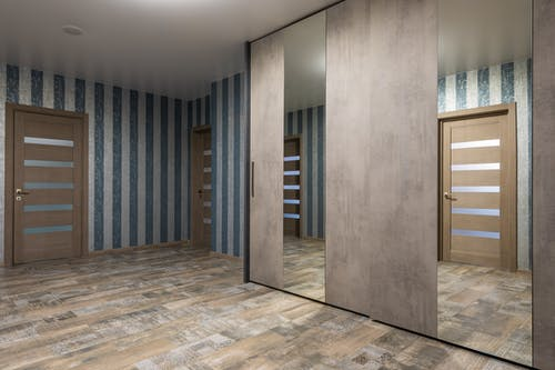 Interior of stylish corridor with mirror