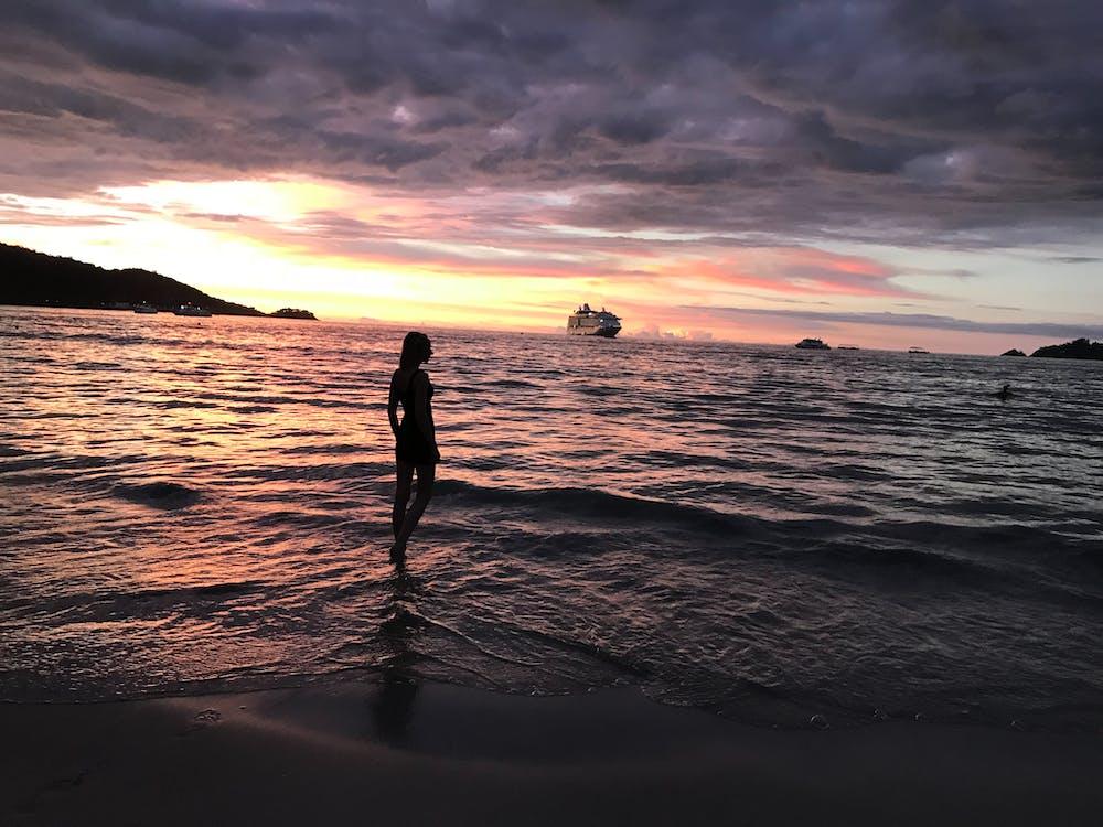 ακτή, άμμος, άνθρωπος