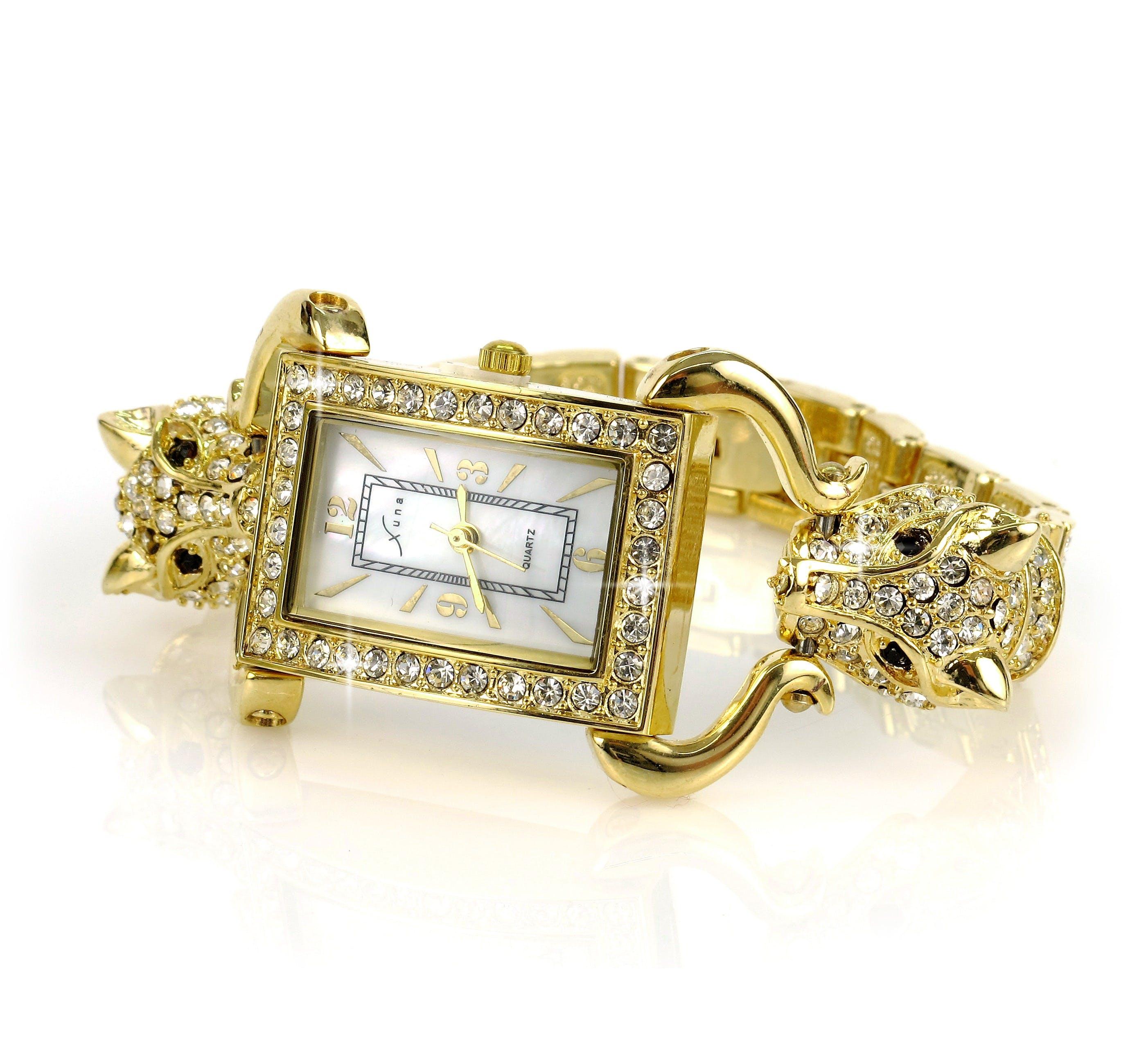 Gold Link Diamond Studded Analog Watch