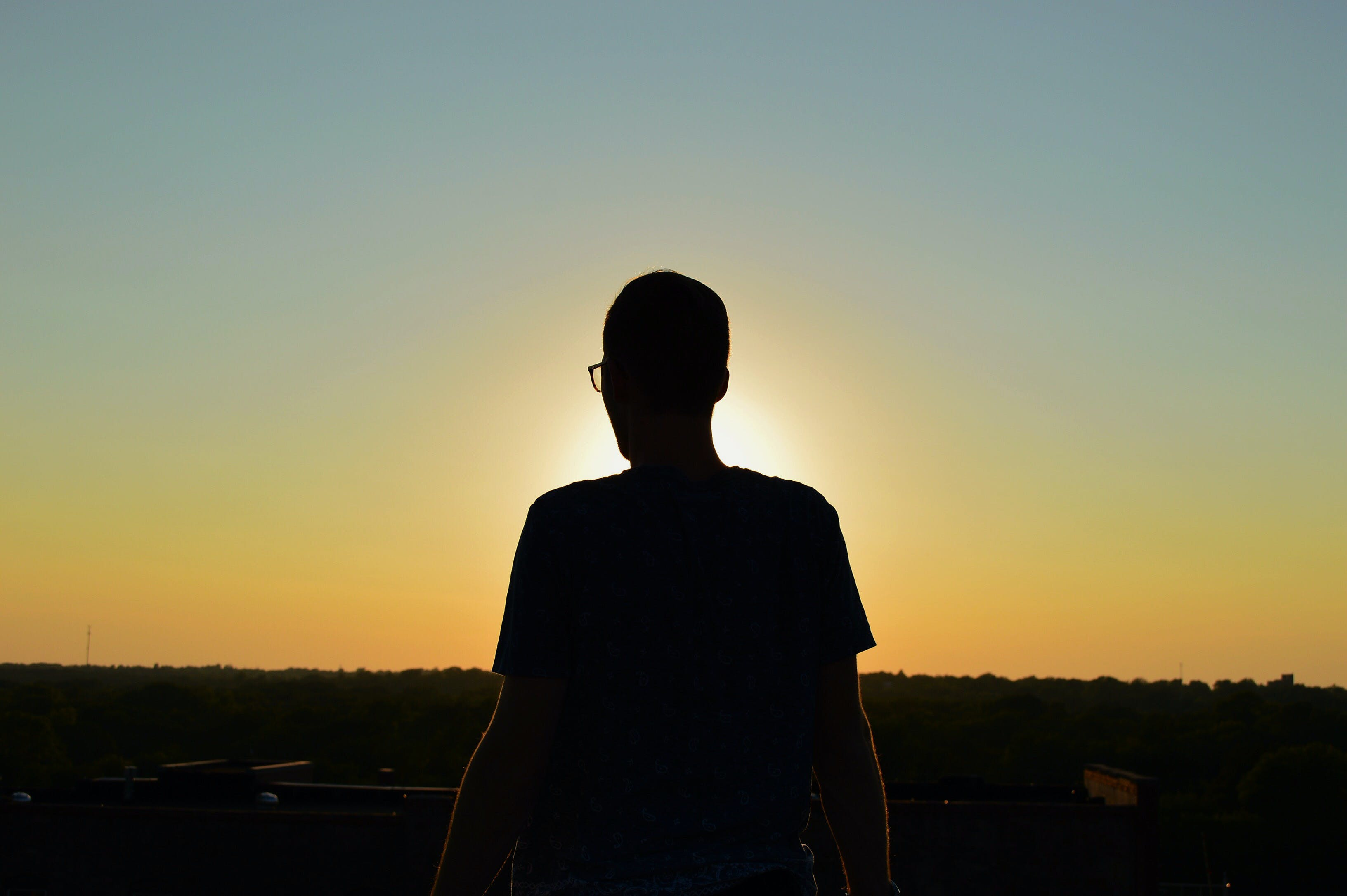 person, silhouette, sunrise