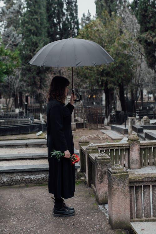 Woman in Black Long Sleeves Dress Holding Black Umbrella