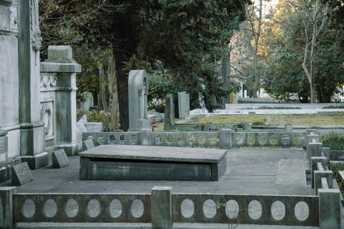 Stone graves among green trees