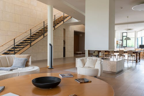 Spacious house with modern interior and staircase