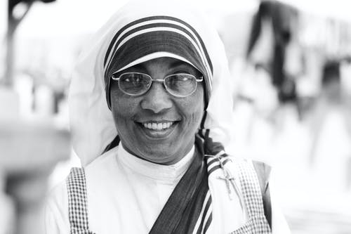 Woman Wearing a Veil and Eyeglasses