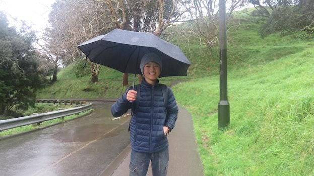 Free stock photo of rain, traveler, city park, boy