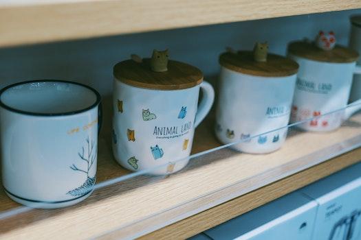 Four Ceramic Mug With Caps