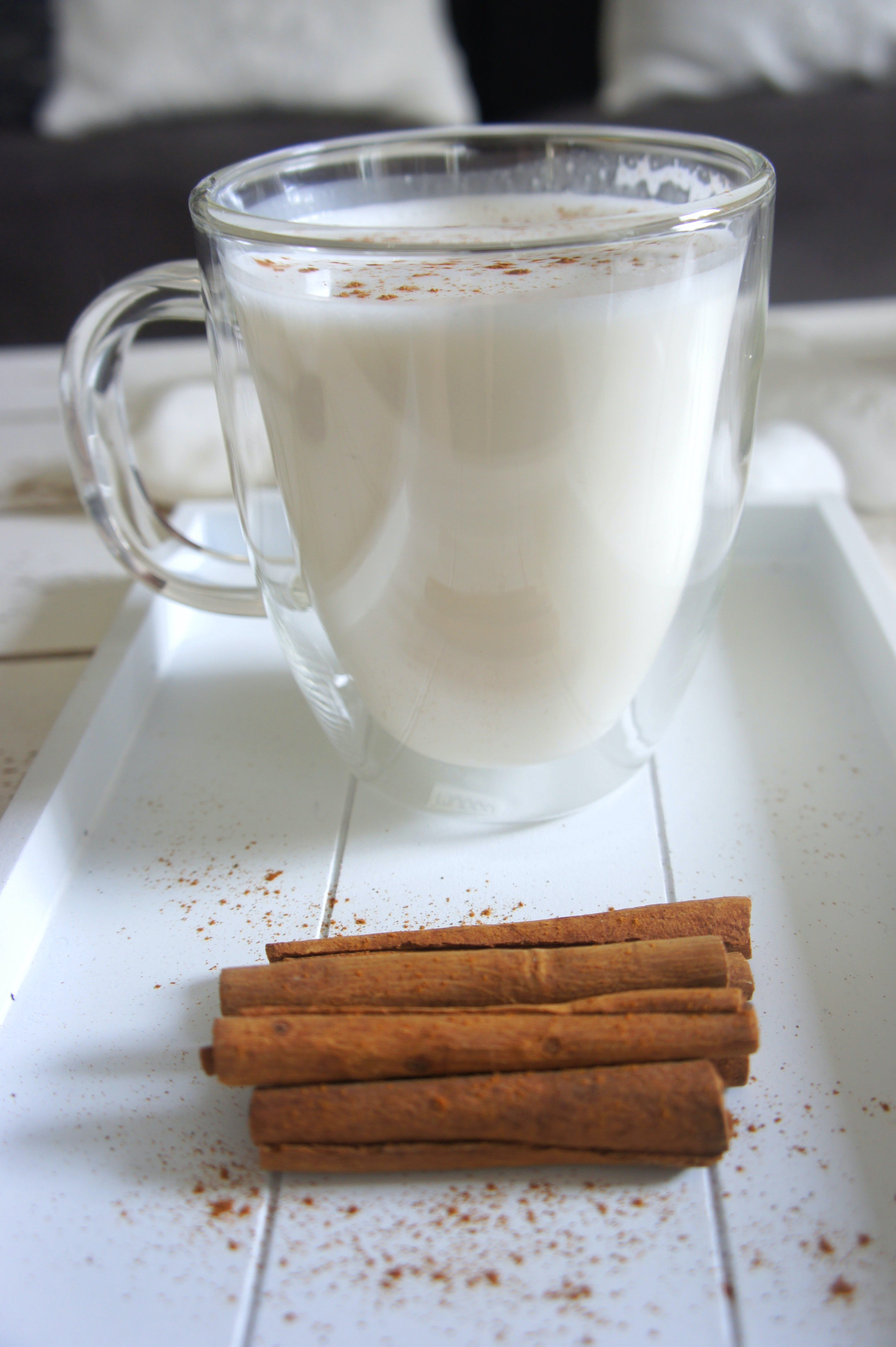 Cinnamon Sticks beside the Glass of Milk