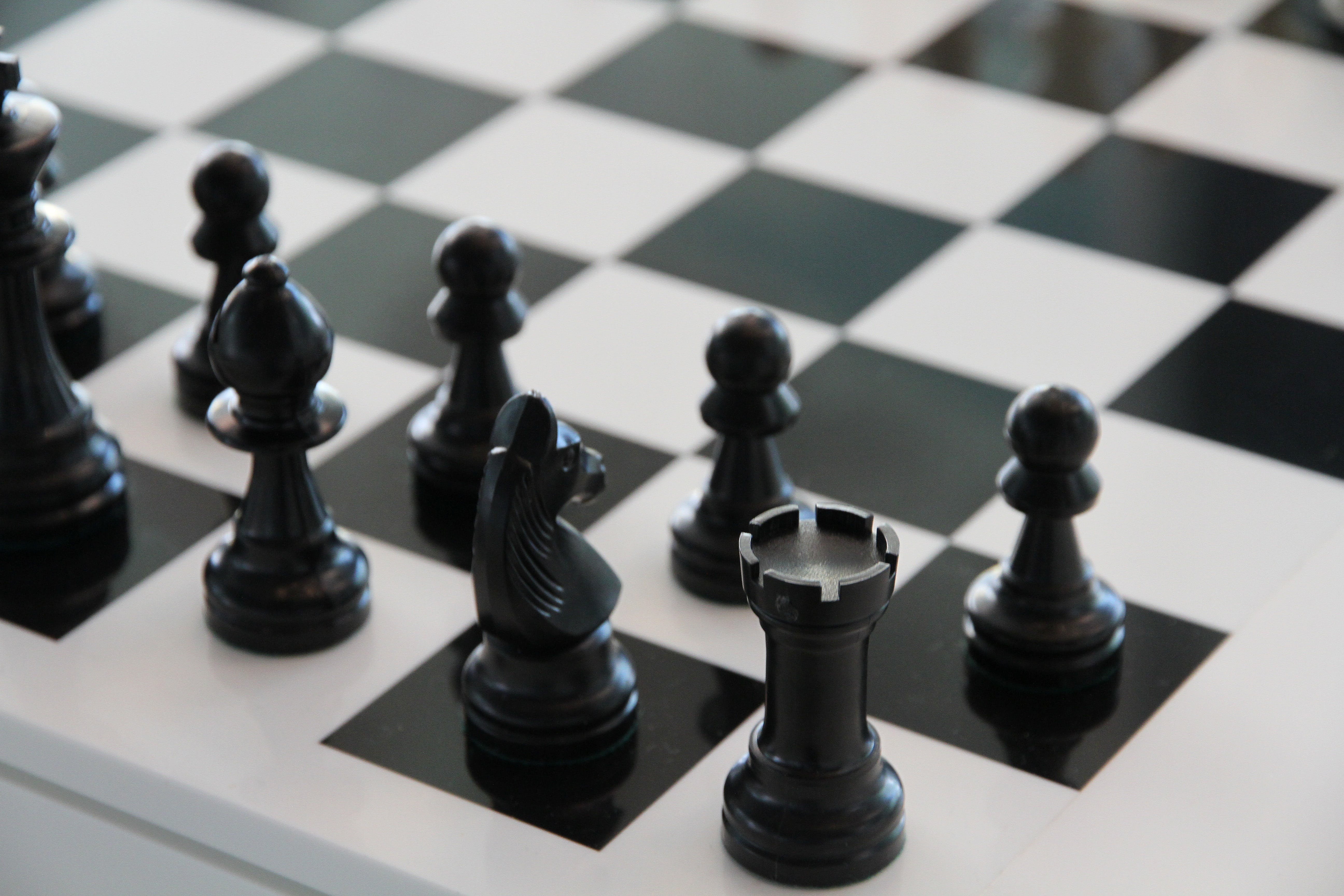 black and white, board game, chess
