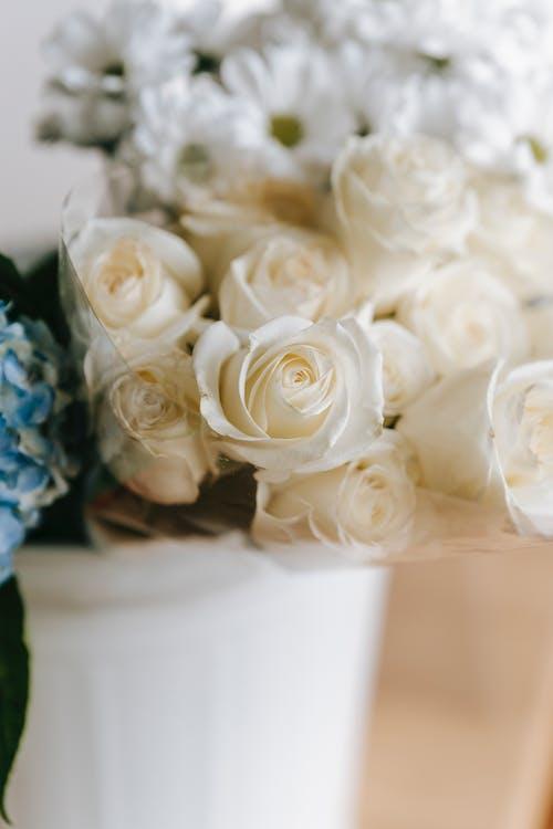Bouquet of fresh flowers in bucket